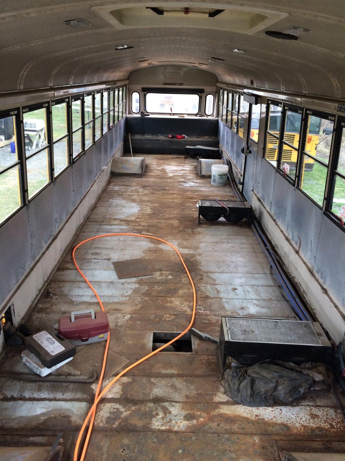 Before: school bus conversion interior
