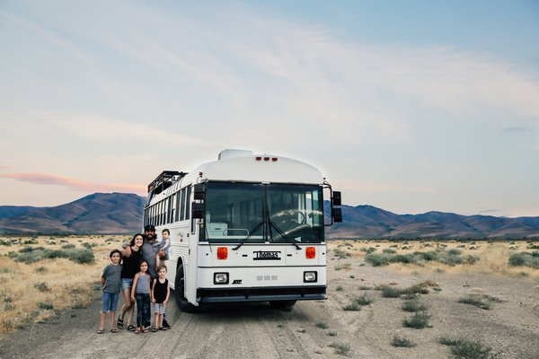 A Couple Convert An Old School Bus Into A Light and Efficient Family Home