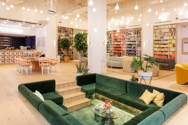 A sunken velvet conversation pit is located in the heart of The Wing's new location in Dumbo, Brooklyn.