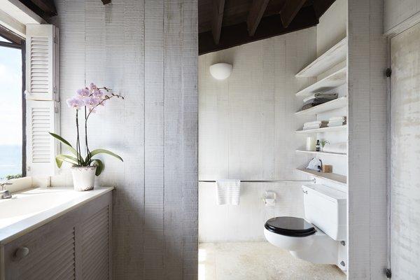Bleached wood lightens up a bathroom.