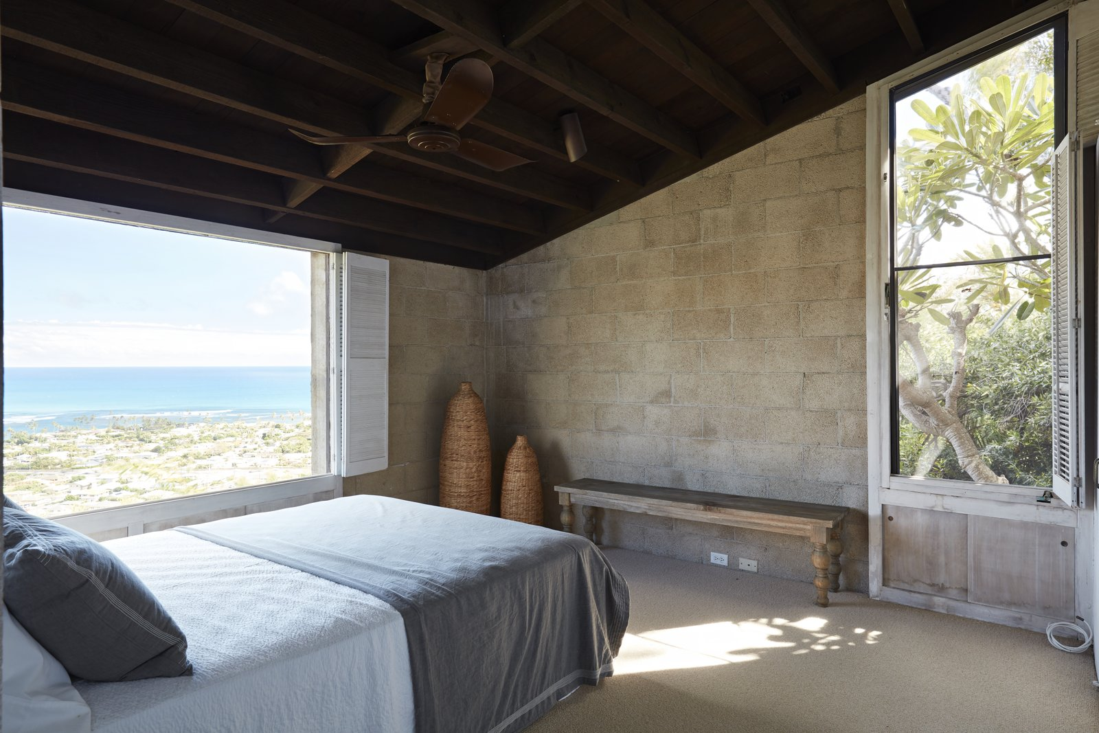 Bedroom, Bench, Bed, Carpet, and Ceiling The view from another bedroom.  Best Bedroom Bench Photos from A Famed Japanese Composer's Effortless Honolulu Hideout Asks $2.95M