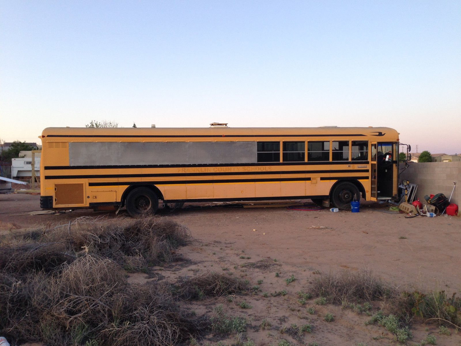 Here is the bus before the renovation.    Photo 2 of 15 in A 320-Square-Foot School Bus Becomes an Airy Abode For a Family of Five