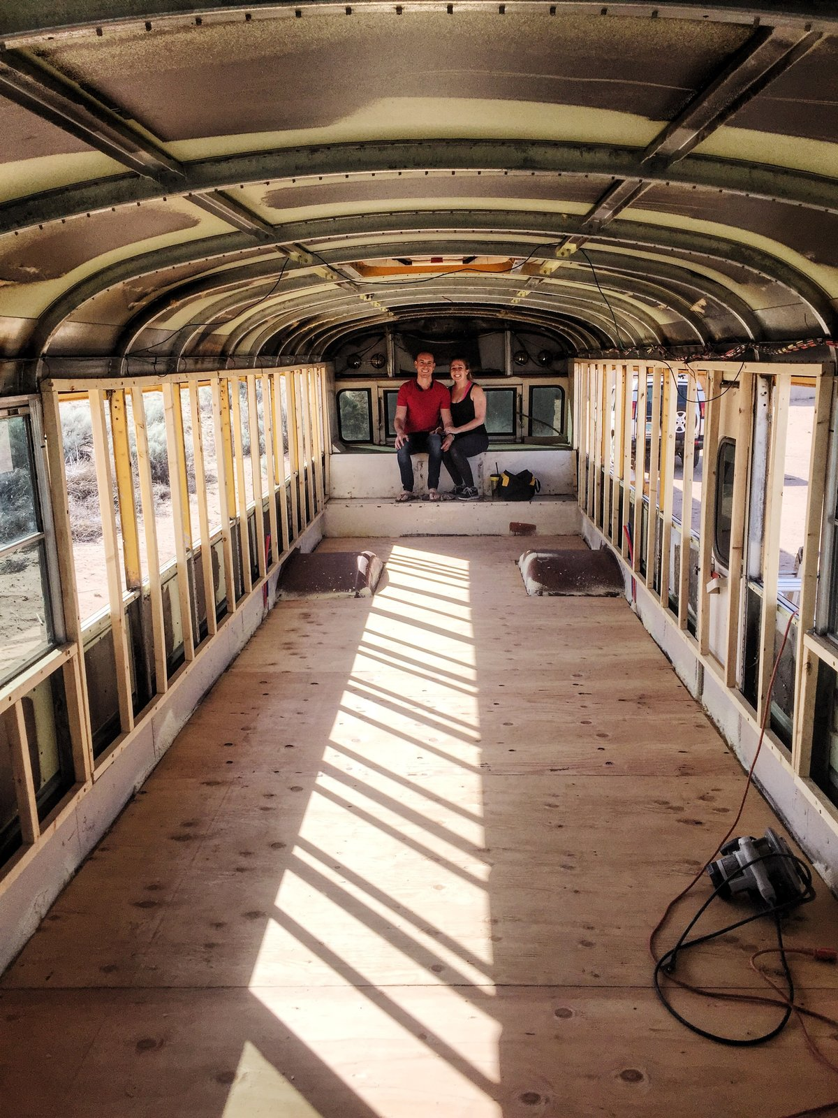 A peek inside once the bus before the layout is built.    Photo 5 of 15 in A 320-Square-Foot School Bus Becomes an Airy Abode For a Family of Five