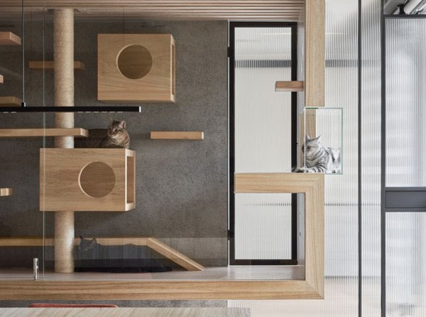 Indot, an interior design firm in Taiwan, designed this suspended enclosure for a client's four cats. The wood frame and interior elements of the cat house mesh with the rest of the home's interior finishes, while the glass ensures the installation doesn't convey too much visual weight. Even better, it gives the cats a space of their own while still letting the homeowners see and appreciate them.