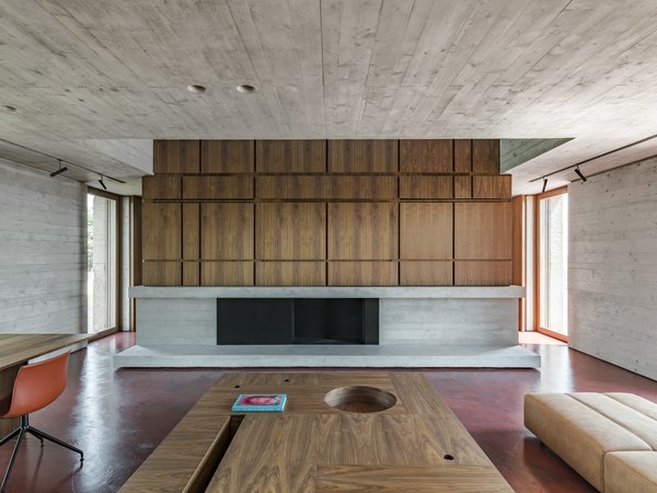 Across from the sofa, a concrete fireplace surround is topped with a custom walnut wall treatment.