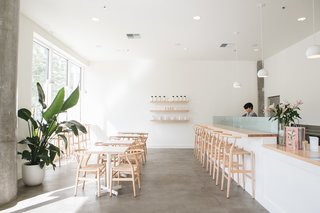 For Tea Bar, Swanson chose lighting from local outfit Schoolhouse Electric, including the Isaac Pendent.