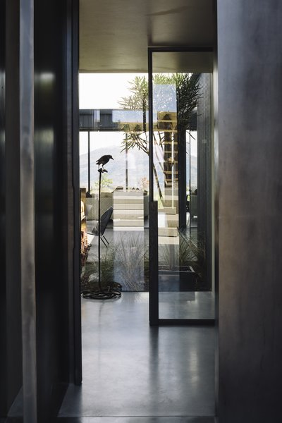 A view into the glassed interior courtyard, which brings nature inside on days with inhospitable weather.