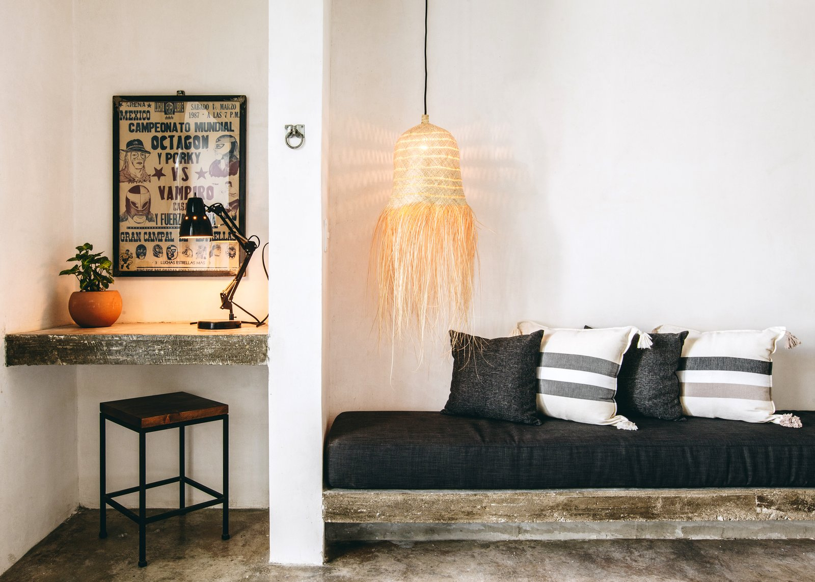 Bedroom, Bench, Bed, Ceiling, Chair, Pendant, Shelves, and Concrete The sale includes all furnishings.  Best Bedroom Shelves Bed Chair Bench Photos from Become a Hotelier in a Surfer's Paradise With This Chic Boutique Property Asking $2.6M