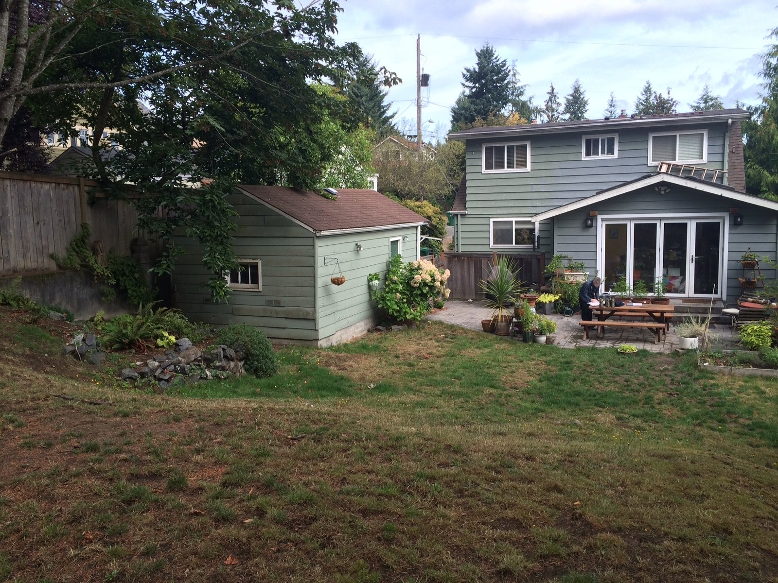 """Before: the 250-square-foot garage on the existing lot.  Photo 1 of 13 in A Detached Garage Becomes a Winning """"Granny Pad"""""""