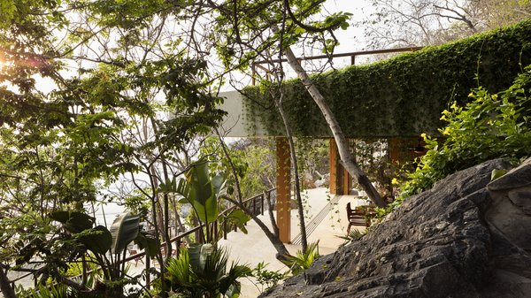 The modern palapa nestles into the naturally rocky slope. Vegetation is encouraged to grow over the structure.