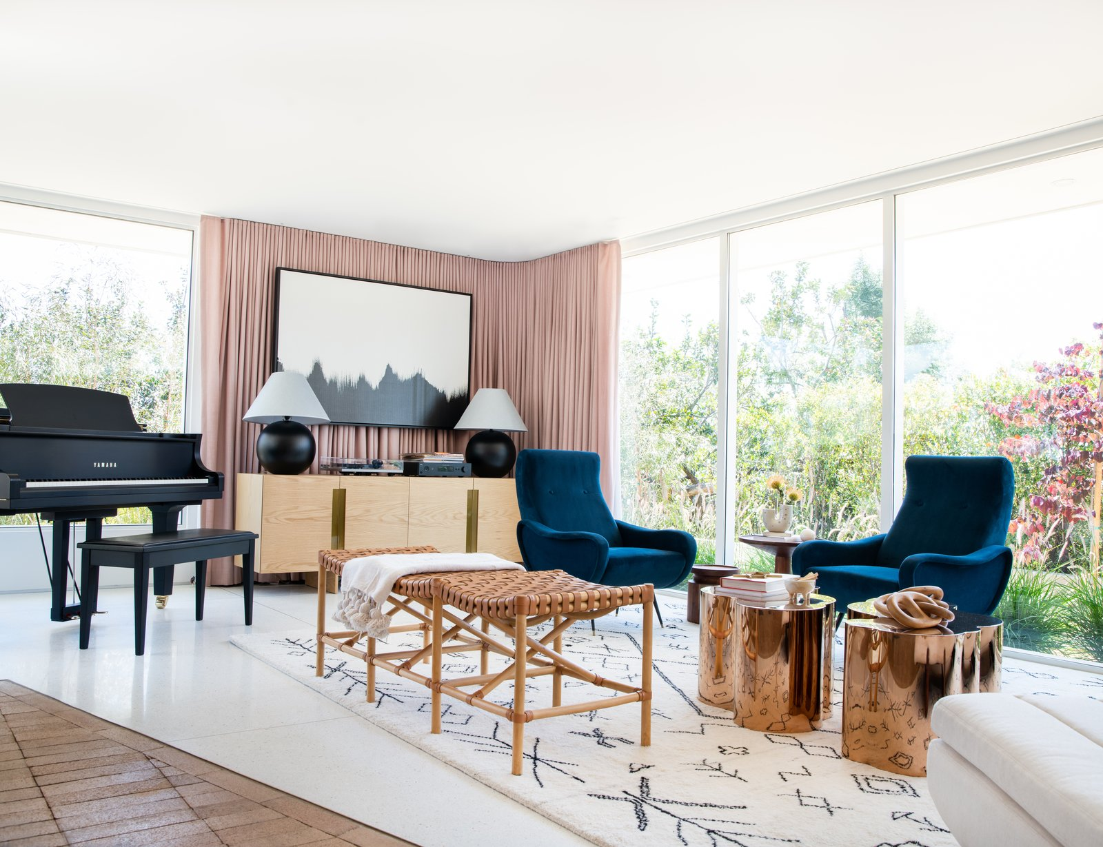 After: Mandy Moore midcentury home living room