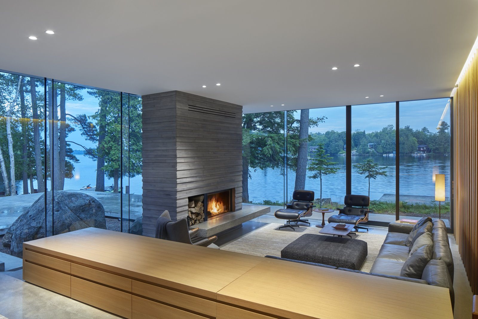 Lake Manitouwabing Residence living room with fireplace