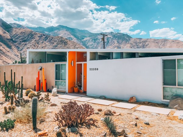 "Dubbed the ""Dazey Desert House,"" the two-bedroom, three-bath home offers the best of both worlds: it's nestled in a desert setting, yet only a five-minute drive from ""bustling Palm Springs entertainment."""