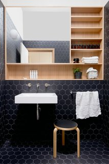 """The powder room is a retreat from the main living areas. The firm set off the Victorian ash storage and mirror unit by surrounding it with black hexagon tile. A """"sky tunnel"""" in the ceiling floods the room with natural light."""
