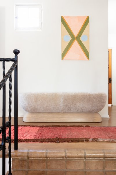 Cuffhome's U Bench brings a textural pop to the top of the stairs.