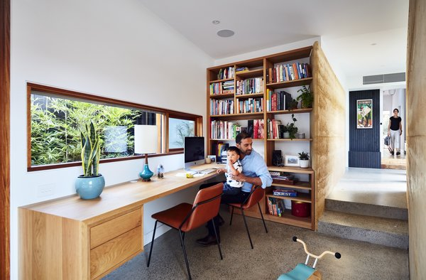 The firm nestled a study into the corridor with a door to the exterior.