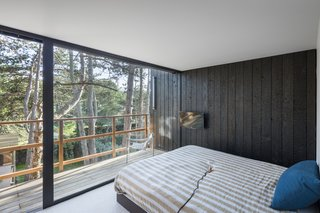 The charred wood siding carries into the home's single bedroom, blurring the boundary between inside and out.