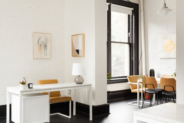 There are three private workstations, as well as a conference table that can seat 14. The latter can provide laptop space for those who are just dropping by for a few hours, or be staged for photo shoots and workshops.