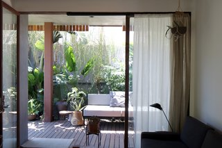 The view of the protected patio from the living room.