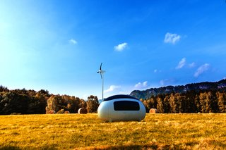 The Ecocapsule is a mobile, self-sufficient micro home that utilizes solar and wind energy. It was designed by Nice & Wise (formerly Nice Architects), a studio in Slovakia.