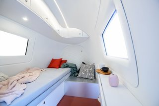 The Ecocapsule sleeps 1-2 people, and it has a lot of storage packed into its small footprint.