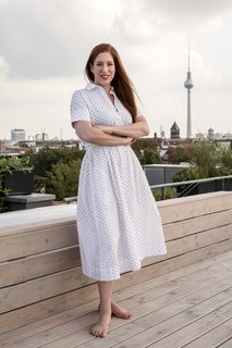 """Architect Ester Bruzkus relaxes on her rooftop terrace in Berlin, which she calls her """"Garden of Eden."""""""