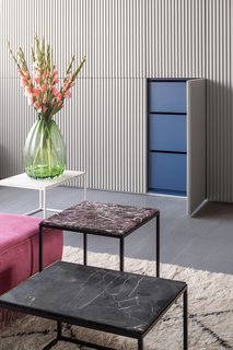 """The design plays off one's expectations of insides and outsides: open the cool gray wardrobe doors and be surprised by bright blue,"" says the firm."