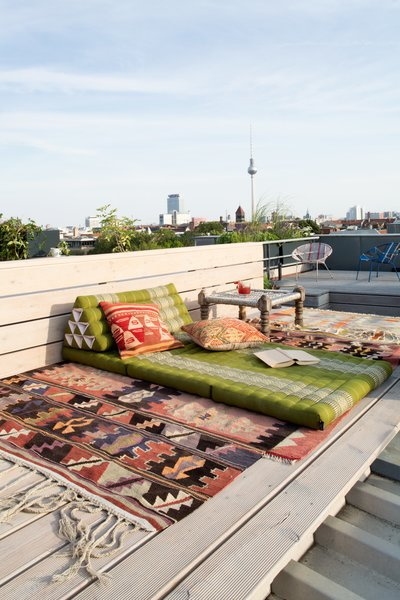A cozy reading nook on the rooftop.