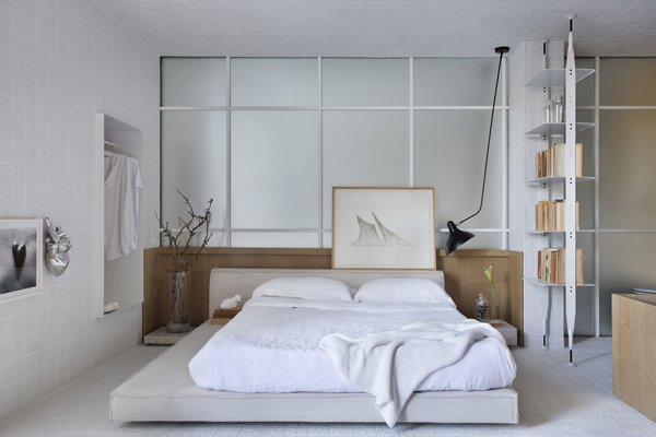 The bed is by Saccaro, and the ceiling light is the BS4 Mantis.