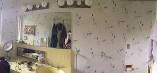 """Before: The biggest issue with the master bathroom is that it didn't feel like one, according to Wise. """"Previously, it was bisected into a dressing room and the bathroom, all covered in some really retro wallpaper. We tore down that wall to elongate the space,"""" says Wise."""