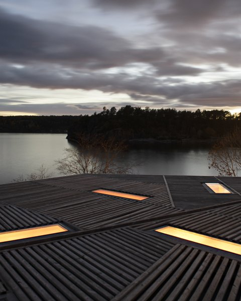 The architects inserted skylights in an artful pattern in the rooftop.