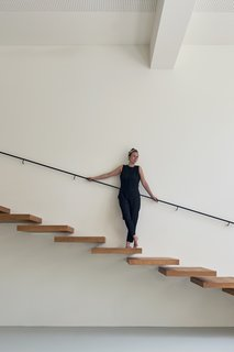The staircase's design was kept minimal, with floating treads made of oiled oak.