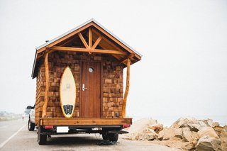 O'Donnell not only builds tiny houses, but lives in them as well, first in the Los Padres model and now in the Acorn. He downsized from the Los Padres to the smaller Acorn model after fires in California made him want to be more mobile.