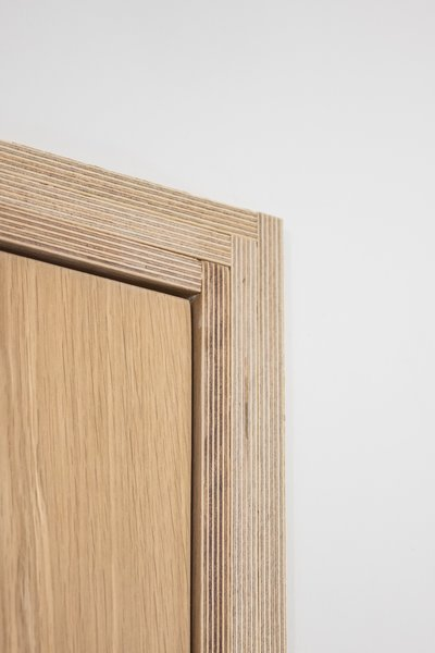 Special attention was paid to the casework detail. Overlapping butt joints form a subtle herringbone pattern and exposes the plywood end-grain.