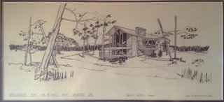 The home was originally designed by architect A.P. DiBenedetto and built in 1972. This original drawing shows the façade that faces the meadow.