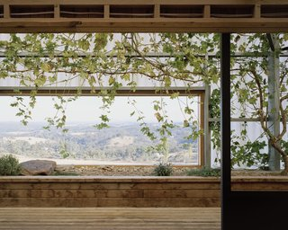 Windows frame spectacular views of the landscape.