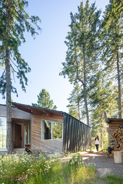 The firm juxtaposed a standing-seam metal envelope with thin strips of cedar on the exterior.