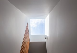 The screen extends up to a skylight, which sheds sunlight on the staircase.