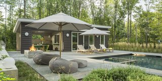 Porter worked with landscape design firm Wagner Hodgson to meld the pool house interior with the exterior.
