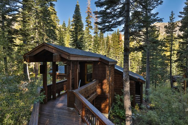 The cabin was designed in 1973 by Charles O. Matcham Jr., a local Tahoe architect.