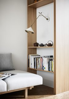 The built-in shelving and storage save space.
