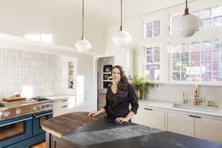 Interior Designer Stephanie Dyer in the completed project.