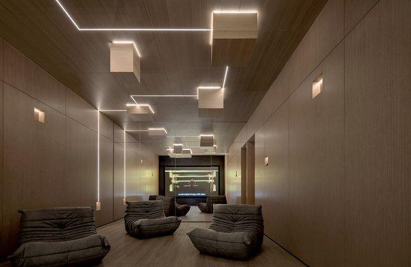 The basement screening room.