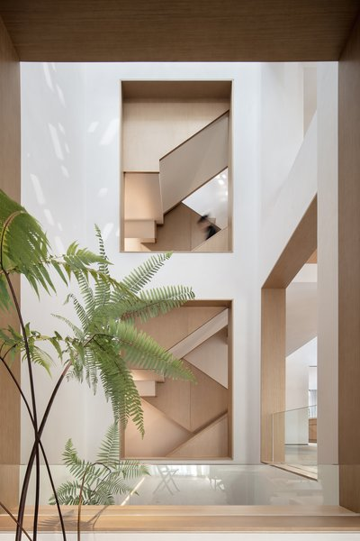 The interior openings frame composed sightlines of the sculptural internal staircase.