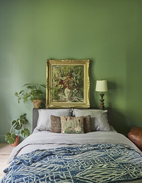 "The ""Jungle Room"" is swathed in Benjamin Moore's Lehigh Green."
