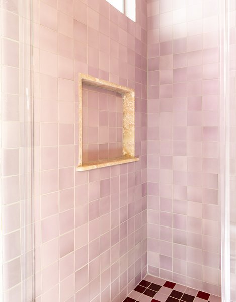 Heath Ceramics tile continues in the shower.