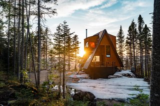 An Adventurous Couple Build an A-Frame Cabin in the Mountains of Quebec
