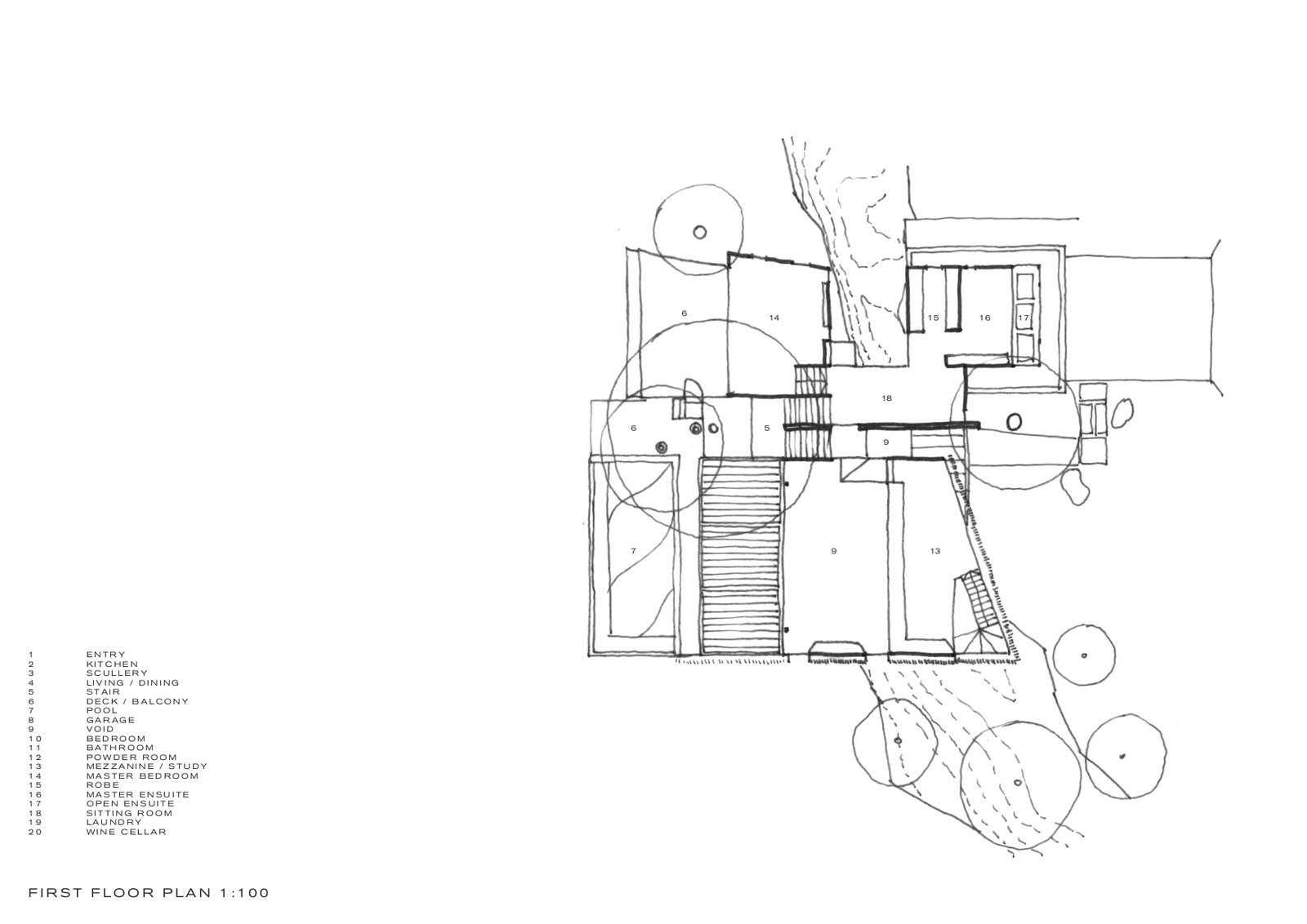 Upper-level floor plan of Higher Ground by Stafford Architecture