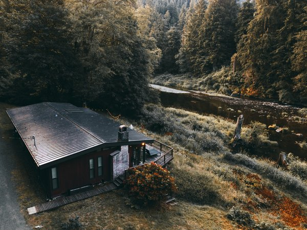 """The """"River Cabaan"""" is just steps away from the Wilson River and a 80-minute drive from Portland, Oregon."""