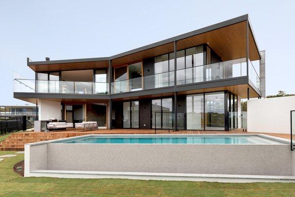 The rear facade with custom pool.